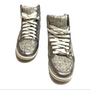 Coach Hightop lace up Sneakers, silver, size 6.5